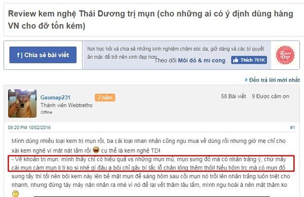 Review kem nghệ Thái Dương